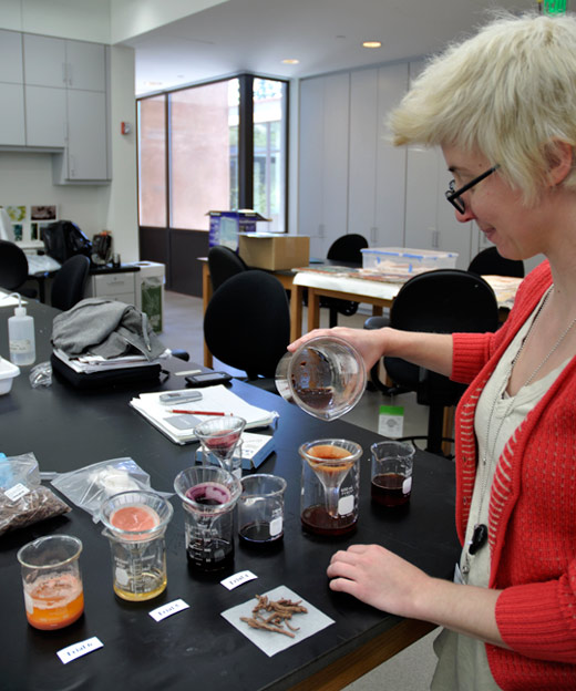 Elizabeth Drolet filters mixtures of dye extracted from madder roots with different inorganic materials, such as alum, lye or chalk. The different inorganic materials used produce different shades of red.