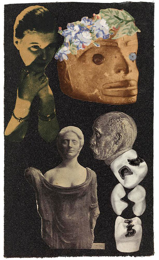 <em>Adorée au grand air</em> (collage on sandpaper), César Moro, 1935. The Getty Research Institute, 980029 © Andre Coyne