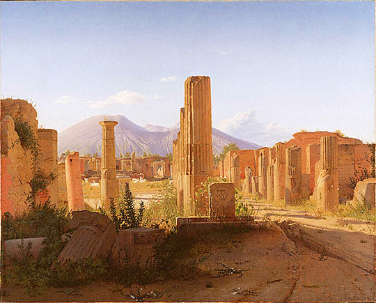 Pompeii in ruins: <em>The Forum at Pompeii with Vesuvius in the Background</em>, Christen Schjellerup Købke, 1841