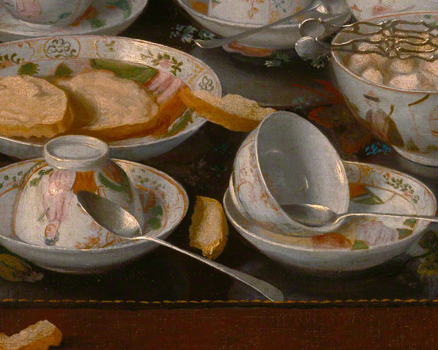 Still Life: Tea Set / Jean-Étienne Liotard - detail of tea cups