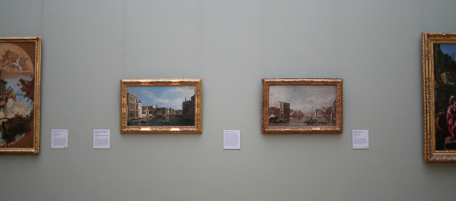 Two views of Venice's Grand Canal in the Getty Center's South Pavilion galleries