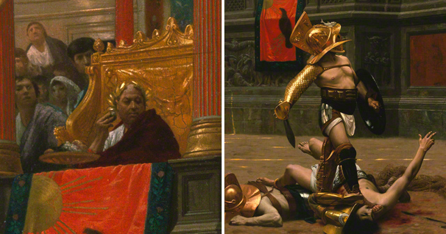 Left: Detail of the emperor from Pollice Verso. Right: Detail of the Gladiator from Pollice Verso