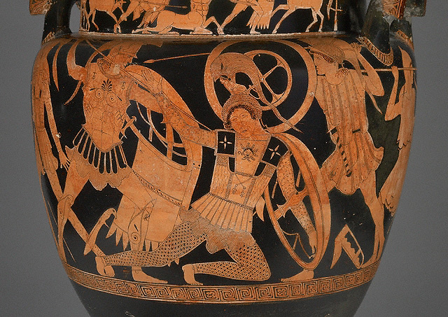 Detail of a fallen Amazon on the Mixing Vessel with Greeks Battling Amazons (the Gela Krater), Greek, 475–450 B.C., attributed to the Niobid Painter. Museo Archeologico Regionale, Agrigento, Sicily