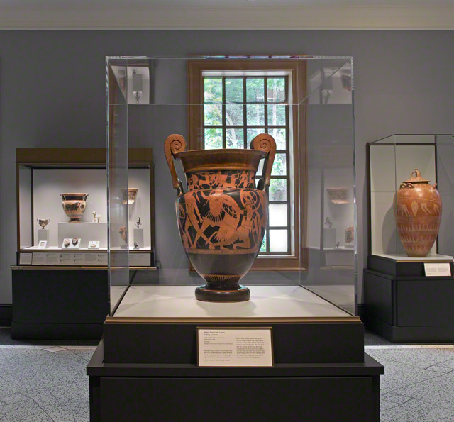View of Stories of the Trojan War (Gallery 110) featuring the Mixing Vessel with Greeks Battling Amazons (the Gela Krater), Greek, 475–450 B.C., attributed to the Niobid Painter. Museo Archeologico Regionale, Agrigento, Sicily