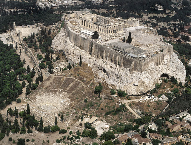Aerial view of the Acropolis in Athens, with the theater of Dionysos in the foreground