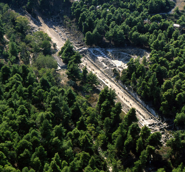 Aerial view of the Amphiareion in Attica, Greece, surrounded by pines