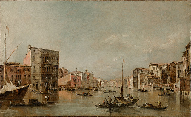 <em>The Grand Canal, Venice, with the Palazzo Bembo</em>, Francesco Guardi, about 1768