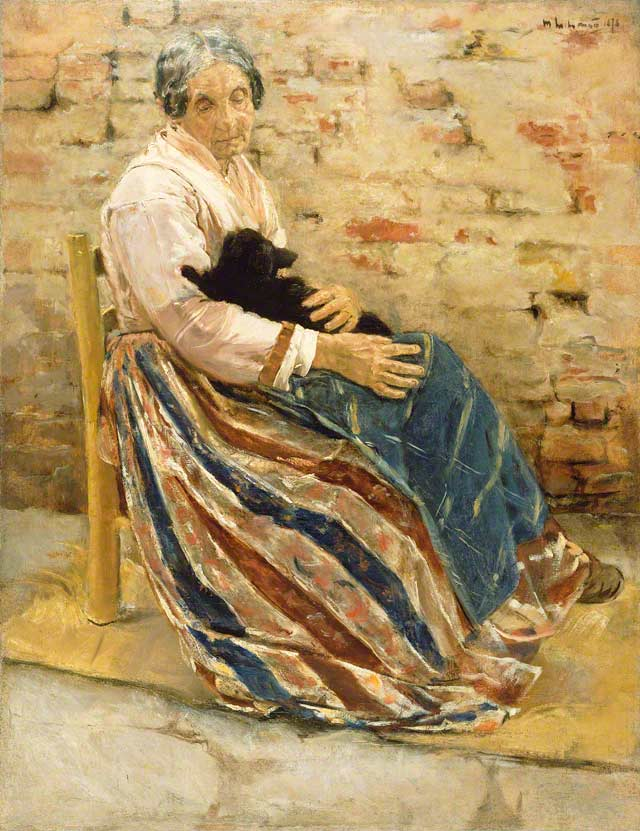 An Old Woman with a Cat / Liebermann