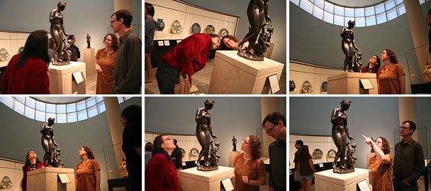 Looking at art in the North Pavilion galleries at the Getty Center