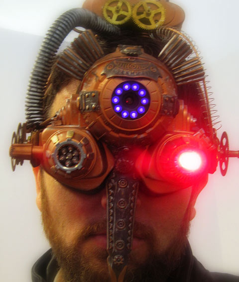 <em>Ninox Oculi</em> (<em>Eye of the Owl</em>), Cristian Grunca, copper and mixed media. A functional night-vision device using infrared light and sensors, as worn by the artist