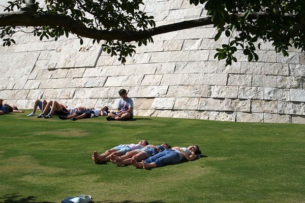 Visitors sleeping on the lawn of the Getty Center&#039;s Central Garden