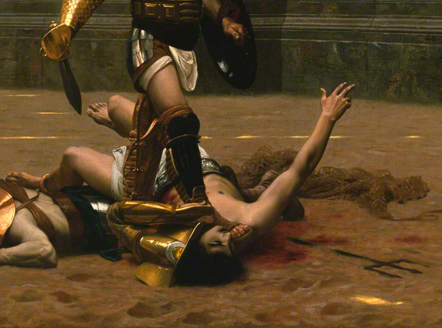 Pollice Verso: Detail of fallen gladiator with trident and net / Gerome