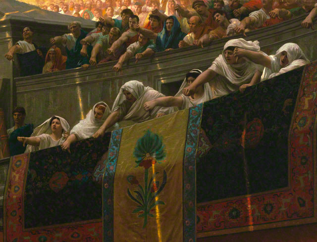 Pollice Verso: Detail of vestal virgins in the stands / Gerome