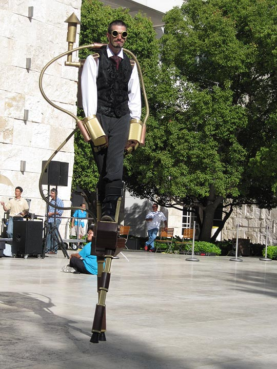 Stiltwalking at the Getty Underground opening