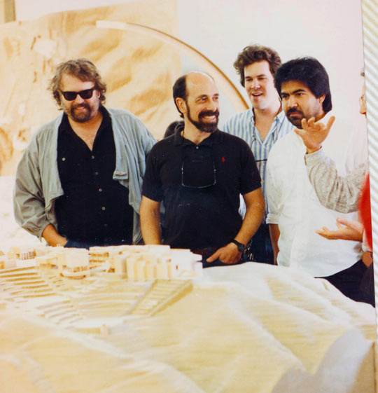 Bruce Metro (far left) with some of his staff looking at an early model for the Getty Center