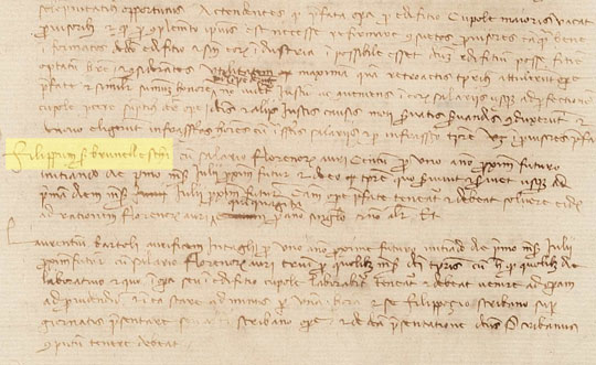 One of the 21,000 digitized documents in the archive. Brunelleschi's name is highlighted in yellow.