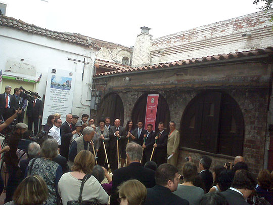 Project leaders At El Pueblo Historic Monument, project leaders break ground on a new protective shelter for the Siqueiros mura