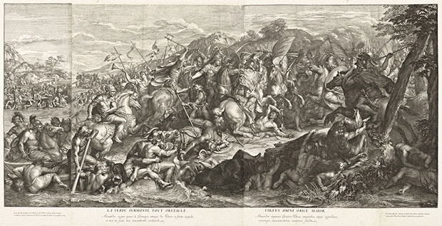 <em>Crossing of the Granicus</em>, Gérard Audran after Charles Le Brun, 1672. The Getty Research Institute, 2003.PR.33