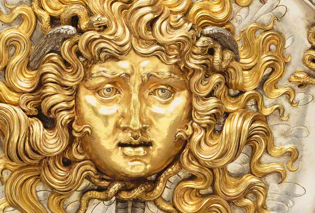 She&#039;ll turn you to stone: Medusa, Vincenzo Gemito, parcel-gilt silver, 1911