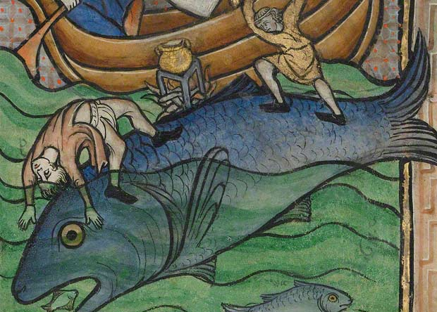 Two Fishermen on a Sea Creature, Franco-Flemish, about 1270