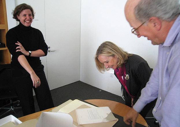 Eliana de Azevedo Marques (center) looks at materials from the Research Library with me and Wim de Wit, head of the Department of Architecture & Contemporary Art