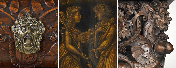 Cabinet, French, 1580 - details of the wood carving and metal ornaments