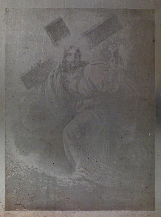 <em>Christ Carrying his Cross</em>, Joseph Nicéphore Niépce (1765–1833), about 1827. Heliograph on pewter. The Royal Photographic Society Collection at National Media Museum