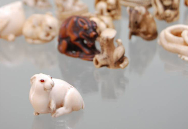 Ivory netsuke of the hare with the amber eyes, Charles Ephrussi's favorite. Photo courtesy of Edmund de Waal