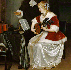 <em>The Music Lesson</em> (detail), Gerard Ter Borch, about 1668
