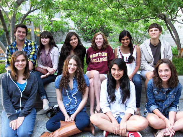 The 2010 Villa Teen Apprentices. From left to right, back row: Nick Rawitch, Rebecca Friedman, Jackie Hernandez, Maggie Farrell, Avantika Kumar, Alex Davies. Front row: Emily Sulzer, Ari Cohen, Jesenya Maldonado, Nikita Salehi. Not pictured: Jeremy Cohen, Olivia Gautier, Zanny Jacobsen