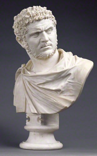 <em>Bust of Emperor Caracalla</em>, Bartolomeo Cavaceppi, Italian, Rome, about 1750–70. Marble, 28 in. high
