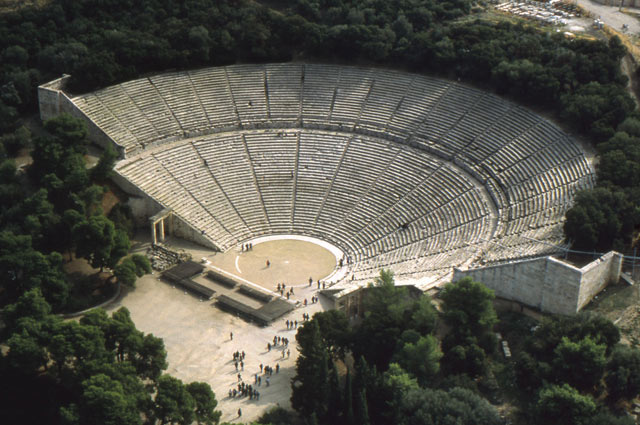 View of the theater of Epidauros in Greece