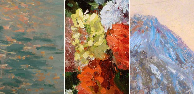 Monet's brushwork in details of paintings from the Getty Museum's collection. From left: <em>Sunrise (Marine)</em>, 1873; <em> Still Life with Flowers and Fruit</em>, 1869; and <em> Wheatstacks, Snow Effect, Morning</em>, 1891