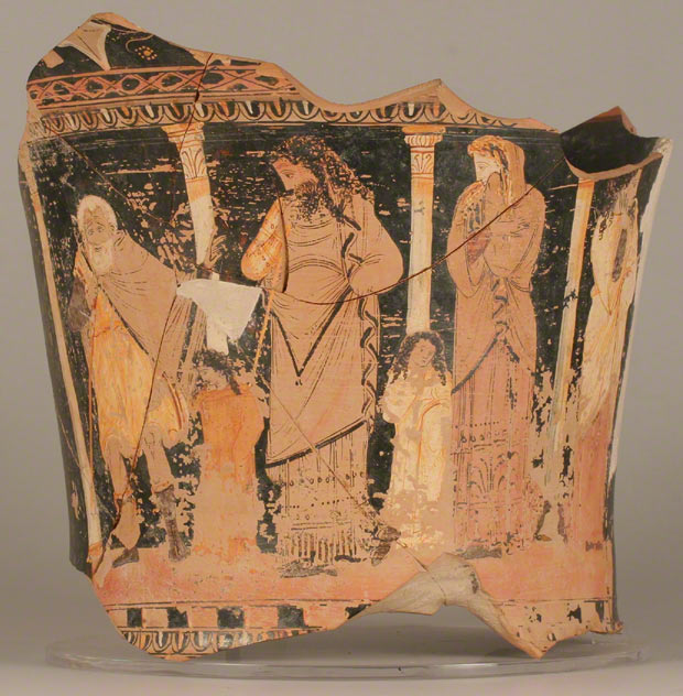 Fragmentary Mixing Vessel with Oedipus Discovering the Truth, Greek, made in Sicily, 330–320 B.C.; found in Syracuse. Fragmentary red-figured calyx krater attributed to the Capodarso Painter