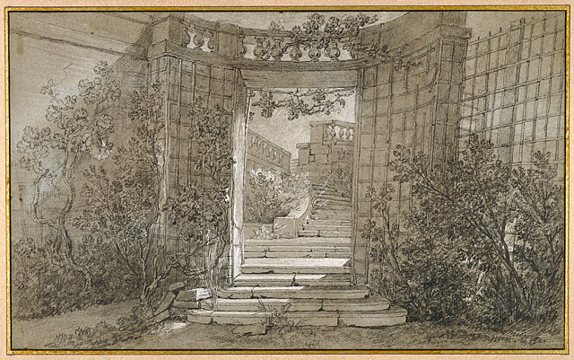 <em>Landscape with a Stairway and Balustrade</em>, Jean-Baptiste Oudry, about 1744–47