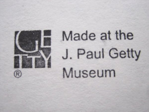 Sketching Gallery stamp: Made at the J. Paul Getty Museum