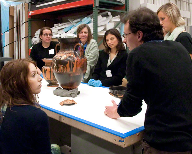 David Saunders speaks with a group of students from UCLA. Most storeroom visits are reserved for college groups.