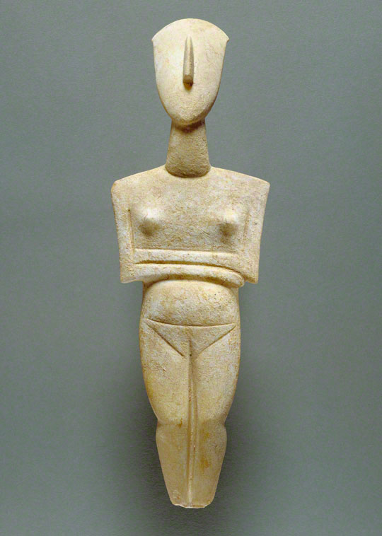 Cycladic sculpture made of marble: Pregnant Female Figure, attributed to the Schuster Master, about 2400 B.C. 16 in. high. The J. Paul Getty Museum, 90.AA.114