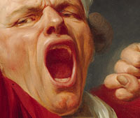 Self Portrait, Yawning: Detail of face and left hand / Joseph Ducreux
