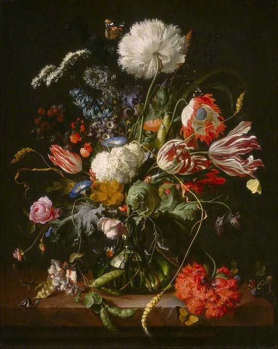 <em>Vase of Flowers</em>, Jan Davidsz de Heem, c. 1660. Oil on canvas, 27 3/8 x 22 1/4 in. Photo courtesy of the Board of Trustees, National Gallery of Art, Washington