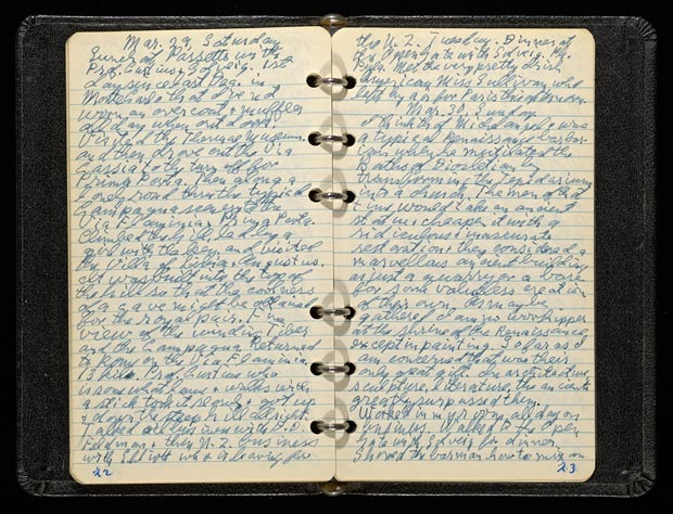 J. Paul Getty&#039;s diary open to the page for March 29 and 30, 1952