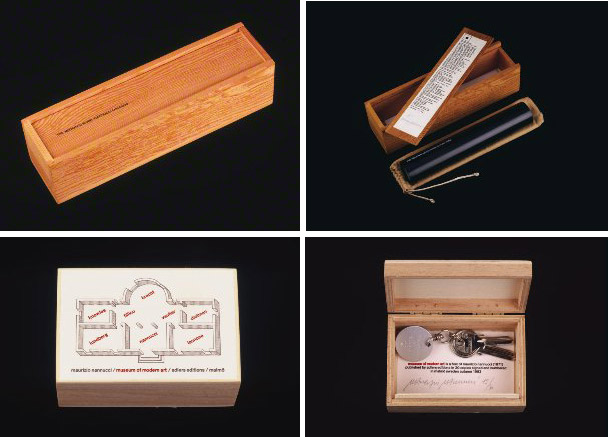"Books by Maurizio Nannucci. Top: Medium is word, 1975. Keleidoscope in a wooden box with a sliding top, 32 x 8 cm. Bottom: Museum of Modern Art, no. 15/30, 1983. Keychain inside a wooden box featuring a floor plan for a ""Museum of Modern Art."" 7.3 x 10.8 cm. The Getty Research Institute, 890164, box 201 © Maurizio Nannucci"