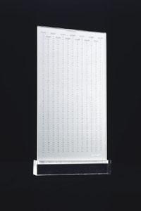 <em>Piove</em>, Mirella Bentivoglio. Two clear plastic sheets in a clear pastic base, 35.6 x 19 cm. The Getty Research Institute, 890164, box 126