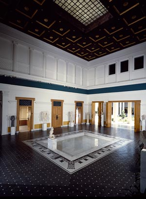 Historical photo of the atrium of the Getty Villa