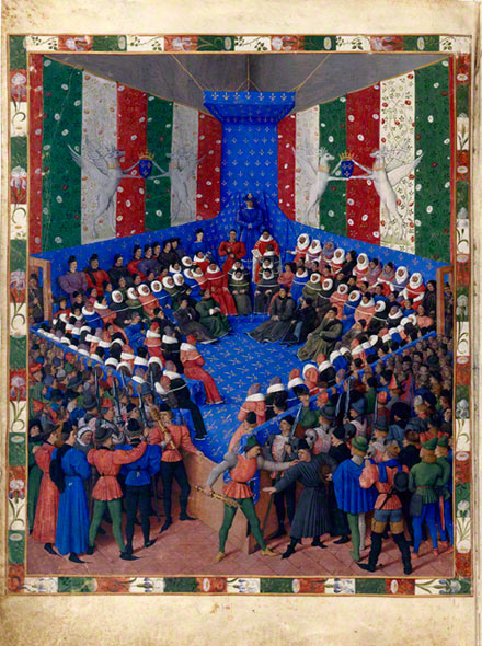 The Trial of the Duke of Alenon, Jean Fouquet, about 1459-60. In Concerning the Fates of Illustrious Men and Women (Des cas des nobles hommes et femmes; original text in Latin); Giovanni Boccaccio, author; Laurent de Premierfait, translator. Bayerische Staatsbibliothek, Munich. Ms. Cod. Gall. 6, fol. 2v