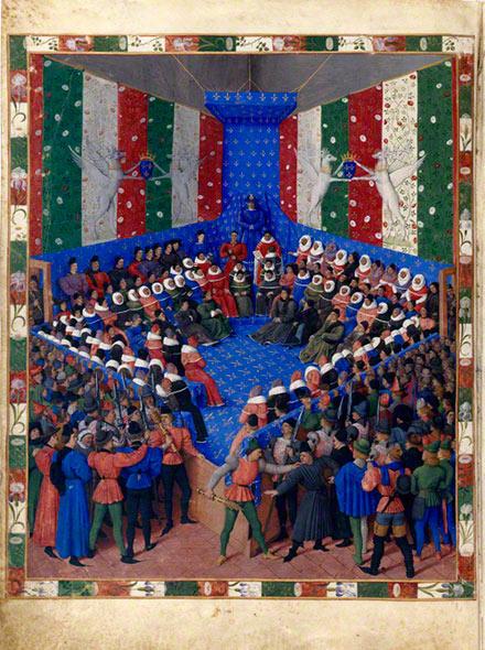 The Trial of the Duke of Alençon, Jean Fouquet, about 1459-60. In Concerning the Fates of Illustrious Men and Women (Des cas des nobles hommes et femmes; original text in Latin); Giovanni Boccaccio, author; Laurent de Premierfait, translator. Bayerische Staatsbibliothek, Munich. Ms. Cod. Gall. 6, fol. 2v