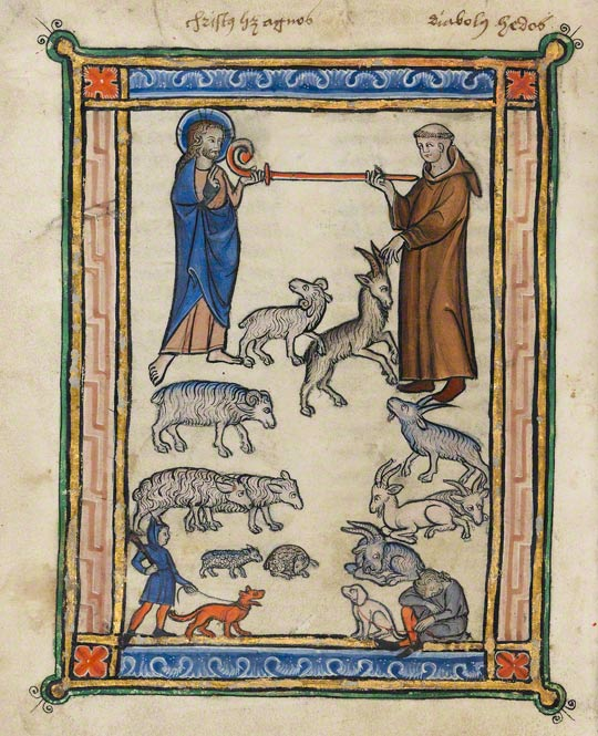 Christ and a Monk and Two Shepherds in a Franco-Flemish bestiary made about 1270. This page is on view in the exhibition Illuminated Manuscripts from Belgium and the Netherlands through February 6.