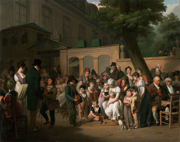 <em>Entrance to the Jardin Turc</em>, Louis-Léopold Boilly, 1812. Oil on canvas, 28 7/8 x 35 7/8 in.