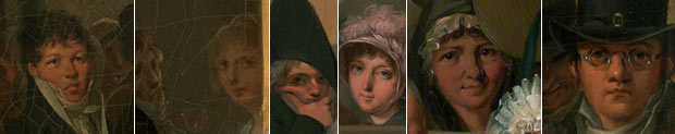 Entrance to the Jardin Turc - detail of figures making eye contact / Louis-Léopold Boilly