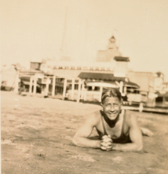 Young J. Paul Getty Lying on the Beach, about 1905–1915. J. Paul Getty Family Collected Papers, The Getty Research Institute, 2010.IA.17